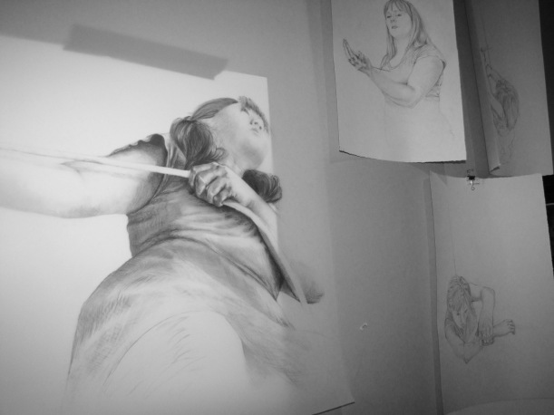 "Sneak peak of works in progress by Maya Hum, large drawing is called ""Carry Forward"""