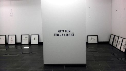 "Lettering is up. Pre-install shot of ""Lines and Stories"" Art Exhibition"