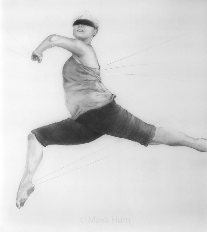 "Leap, 36 x 40"" unframed, Pencil on Mylar"