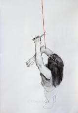 "Puppet no longer, 17 ½ x 19 ¾"" framed, mixed-meda on paper"