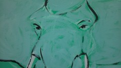Close up, initial painting layer for elephants