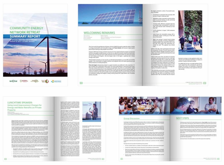 Community Energy Network 2013 Retreat Report - selected pages - Adobe Indesign & Photoshop CS5.5. Client: Ecology Ottawa, 2013