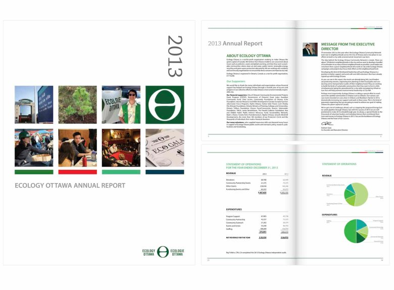 Ecology Ottawa's 2013 Annual Report – Selected pages – Adobe InDesign, Illustrator, & Photoshop CS5, Client: Ecology Ottawa, 2014