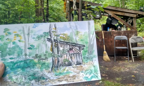 I painted this during a camping trip I took this summer! It's an outdoor kitchen, very cool! 2015 Maya Hum