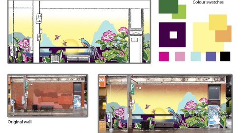 Maya Hum Presentation Street Mural Design 2015