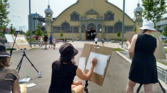 First day of class. Photo of student sketching the Pavilion
