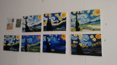 Inspired by Van Gogh and post-impressionism - copying his Starry Night. Medium: Acrylic Paint
