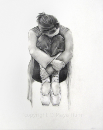 "Pause II, Graphite on Mylar, 15x19"" 2012"