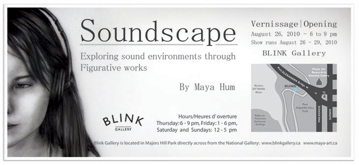 Soundscape - Personal promotional card for first solo art exhibit in Ottawa, 2010