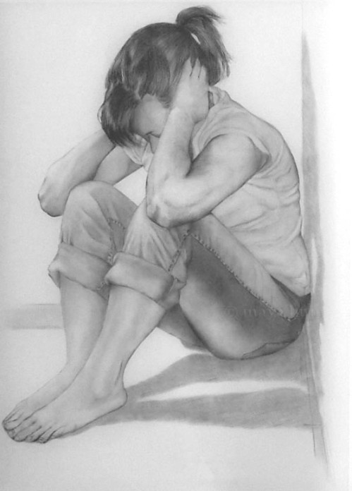 "Cornered, graphite on mylar, 36 x 60"" 2009"