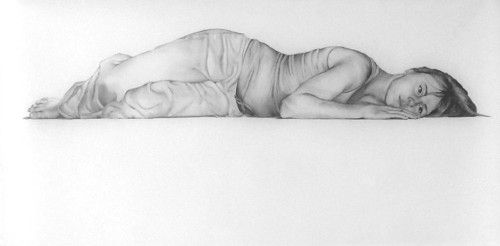 "Evesdrop, graphite on mylar, 66 x 36"" 2009"