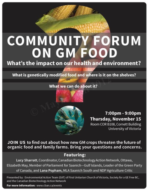 Community forum poster on genetically modified food - Adobe Photoshop & Illustrator CS5. Client: Canadian Biotechnology Action Network, 2012