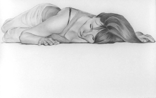"Listen in,  graphite on mylar, 36 x 26"" 2009"