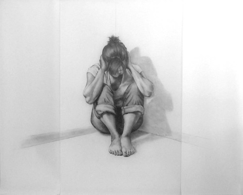 "Tune out,  graphite on mylar, 72 x 36"" 2009"