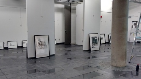 Installing the exhibit (Evoking worlds by Maya Hum)